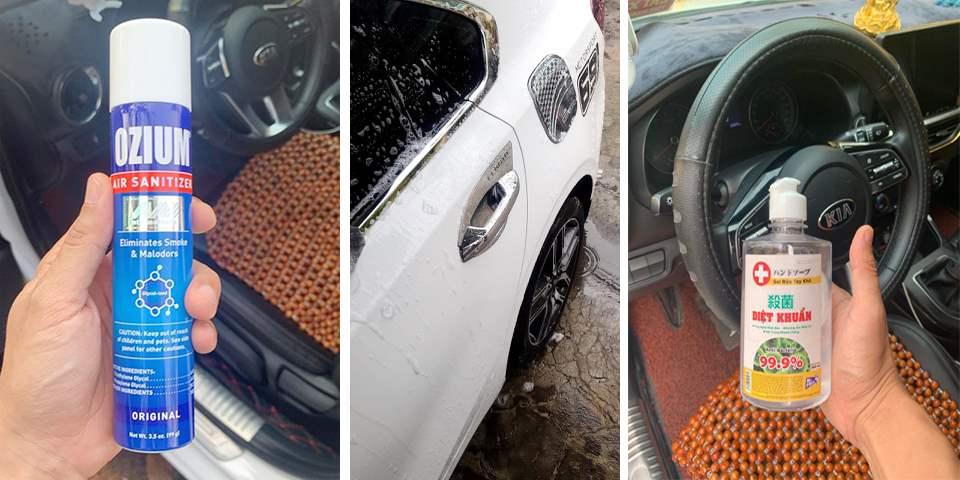 Sử dụng Ozium làm sạch không khí oto. Trang bị bình rửa tay trên xe phục vụ cho khách hàng.